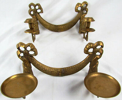 "p7528: Antique/Vintage Pair Cast Brass Sconces Candle Holders 12""w Large Double"