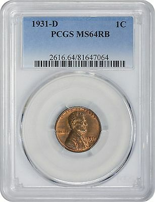 1931-D Lincoln Cent MS64RB PCGS Mint State 64 Red Brown