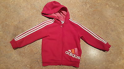 GIRLS adidas hoody zip up top aged 12-24 months
