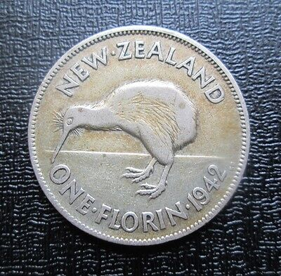 1942 New Zealand Silver Florin - 2 Shillings - George VI
