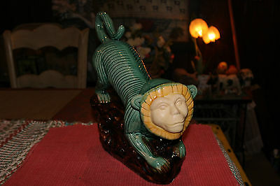 Majolica Monkey Pottery Statue-Large Green Monkey Crawling On Rocks-Capuchin