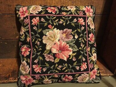 Vintage Completed Needlepoint Pillow Pink Black Romantic Floral