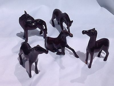 Lot Of 5 Vintage Hand Carved/crafted Wooden Horses