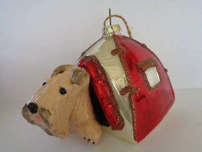 """Handmade~Wheaten Terrier """"camping Tent Dog House"""" Glass Ornament~5 Day Auction!"""