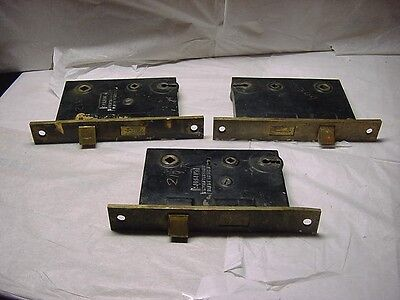 3 Antique  Iron And Brass Sargent Mortise Locks No Keys