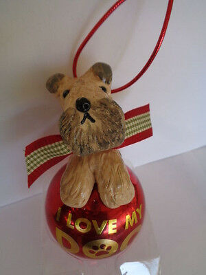 """Handmade~Wheaten Terrier """"i Love My Dog"""" Glass Ornament~5 Day Only Auction!"""