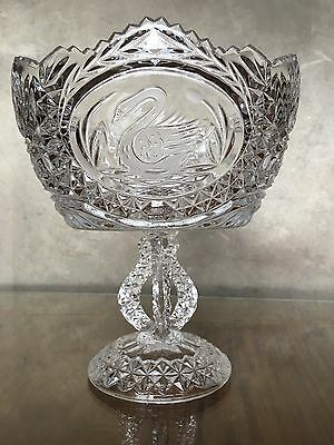 Magnificent Vintage Hand Cut Crystal Six Sided Footed Compote Bowl Ec