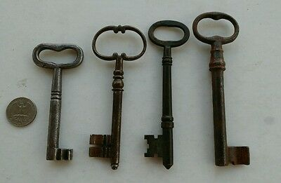 lot of 4 antique large skeleton keys steel bronze barrel hole