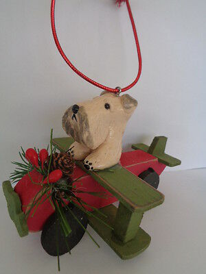 """Handmade~Wheaten Terrier """"flying On Wood Airplane"""" Ornament~5 Day Only Auction!"""