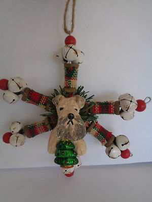 """Handmade~Wheaten Terrier """"jingle Bells Snowflake"""" Ornament~5 Day Only Auction!"""