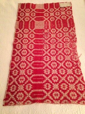 "Vintage Coverlet Piece Christmas Red  17"" x 31"" LOTC4"