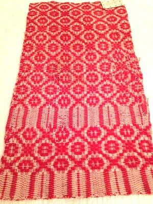 "Vintage Coverlet Christmas Red  Piece 16"" x 31"" LOTC2"