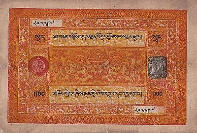 CHINA TIBET 100 Srang Great Historical Note! Very Rare!! GOING..going...!