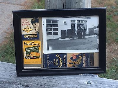 Vintage 5x7 Framed Picture Of And Old Gas Station With Related Matchbooks