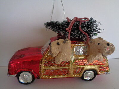 """Handmade~Pair Wheaten Terriers """"riding On Red Car"""" Glass Ornament~5 Day Auction!"""