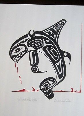 Northwest Coast Blood On The Water Killer Whale Painting Original