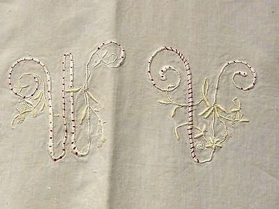Antique Hand Embroidered Mono French Homespun Linen Hemstitch  Bed Sheet 78 x 92