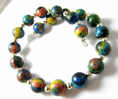 Multicolored Blue Green Orange Yellow Stone? Bead Wired Vintage Bracelet*e116