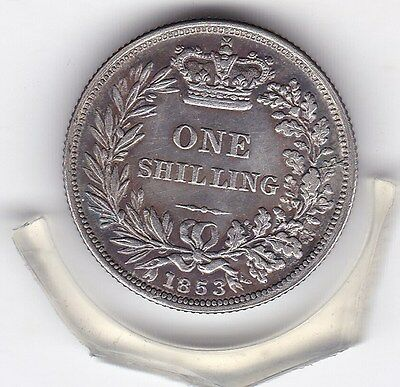 Toned  1853   Queen  Victoria  Sterling  Silver  Shilling  British Coin