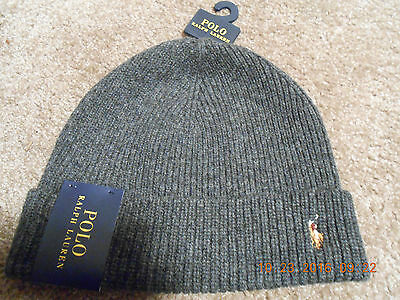NWT Polo Ralph Lauren Gray Ribbed Beanie Hat 100% Merino Wool One Size MSRP $45