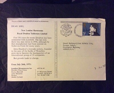 GPO First Day Of Issue John Keats 1971 with London Postmark