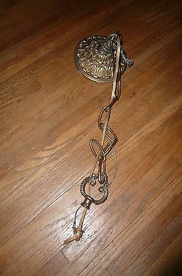 Antique Spanish Brass 60's Vintage Chandelier Ceiling Canopy Top and Chain
