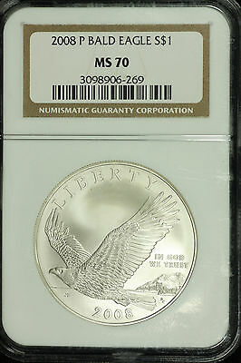 Modern Commemorative Silver Dollar 2008 P Bald Eagle NGC MS70 Lot# 3098906-269