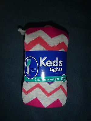 NEW 2 Pack KEDS MEDIUM Girl's FOOTED Cotton Tights *CHEVRON/ Solid PINK