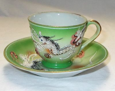 Vintage Moriage Dragon Ware Green Cup and Saucer Japan