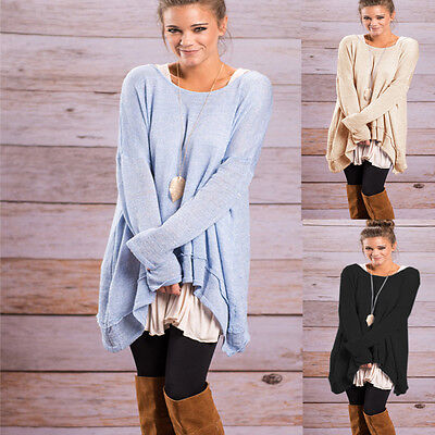 US Womens Loose Long Sleeve Tops Blouse New Casual Shirt Fashion Tunic T-Shirt