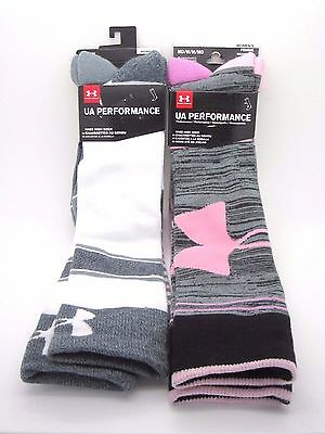Under Armour UA Performance Women Knee High Socks 4 Pairs MD in Pink / Gray