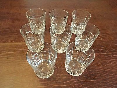 8 Sevres Crystal Old Fashioned Tumblers - acid etched France