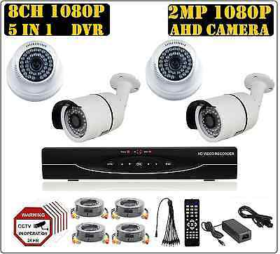 8CH 1080P 2MP 5 in 1 DVR, 1080P AHD 2MP Camera CCTV Security Camera System Kit