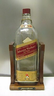 Vtg One Gallon Johnnie Walker Red Label Swivel Bottle w/ Pouring Stand or Cradle