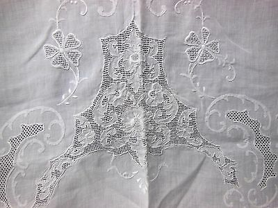 """VTG HAND EMBROIDERED Italian Cutwork Needle Lace Linen Banquet TABLECLOTH -122"""""""