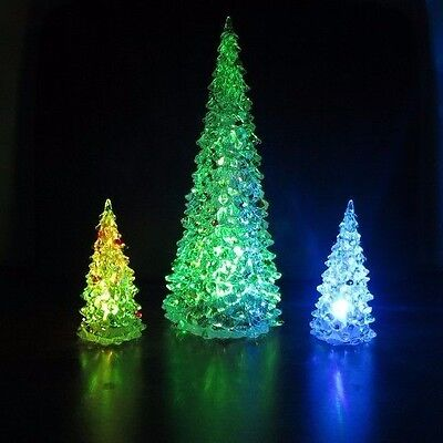 """3 Christmas Xmas Trees with Changing Colorful Lights - Plastic 4.5""""H, 10.5""""H New"""