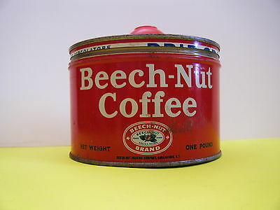 Vintage Key wind BEECH-NUT COFFEE TIN With top and  Original Scoop