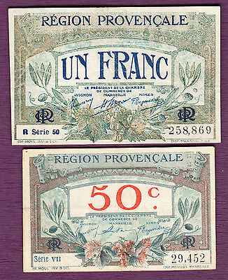 France Franc & 50 Centimes 1922  REGION PROVENCALE MARSEILLE 2 VF NOTES