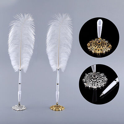 Wedding Ostrich Feather /Long Quill Guest Book Signing Pen Metal Holder Gift Set