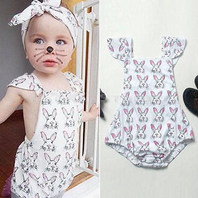 Summer Newborn Kids Baby Girl Cotton Clothes Bodysuit Romper Outfit Size 0-12M
