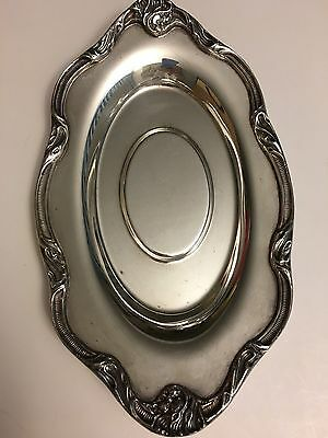 "Vintage Silver Plated 10"" x 6"" Oval  Tray w Swirls Design Around the Edge"