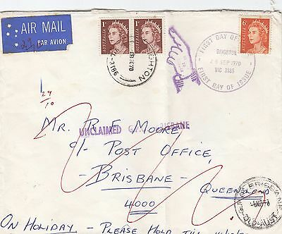 Stamps Australia 6c QE2 first day issue uprated pair cover airmail to Brisbane