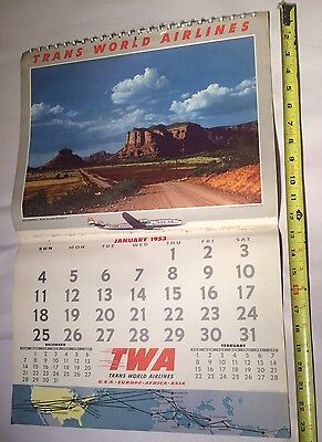 Vintage 1953 TWA TRANS WORLD AIRLINES 12 Month Picture CALENDAR