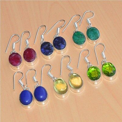 Wholesale 6 Pair Lot Faceted Ruby & Mix Stone 925 Silver Plated Hook Earring