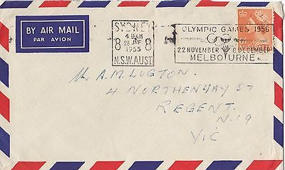 Stamp Australia 6&1/2d orange QE2 airmail cover Olympic Games slogan postmark