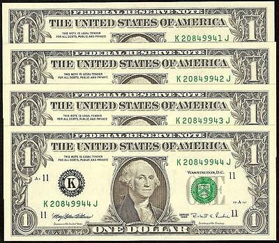 4 Cons 1995 $1 Dollar Bills 295 Back Plate Error Change Over Pair Unc Currency
