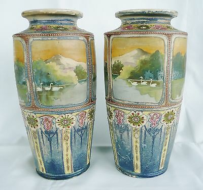 Stunning pair of large hand-painted, 'swan' vases.