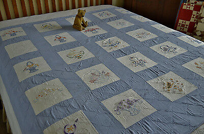 Antique Hand Stitched Embroidered Quilt