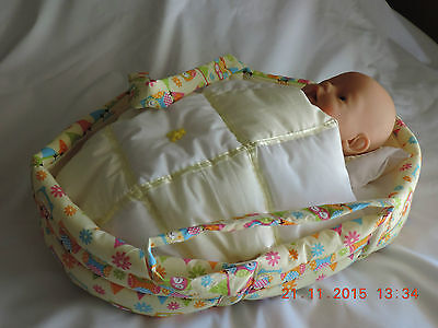 Handmade Doll Carrier Cradle Basinette Bed - Baby Born Reborn Baby Cabbage Patch