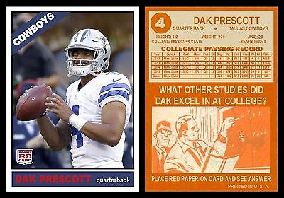 2016 Phenoms Dak Prescott Rookie Rc Card 1St Dallas Cowboys Card Smile 4 New!